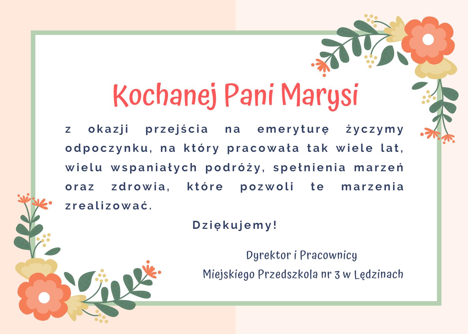 Podziękowanie dla pani Marii Patalong-nauczycielki emerytki-