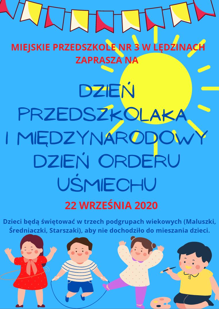 Zaproszenie na obchody Dnia Przedszkolaka i Międzynarodowego Dnia Orderu Uśmiechu