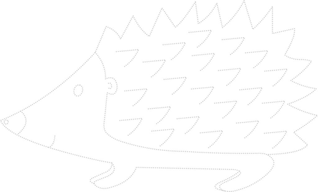 karta pracy przedstawiająca jeża - ćwiczenie grafomotoryczne