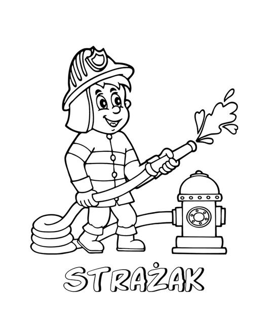 kolorowanka przedstawiająca strażaka