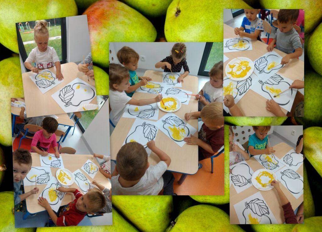 kolaż zdjęć przedstawiający dzieci, które malują farbami gruszki