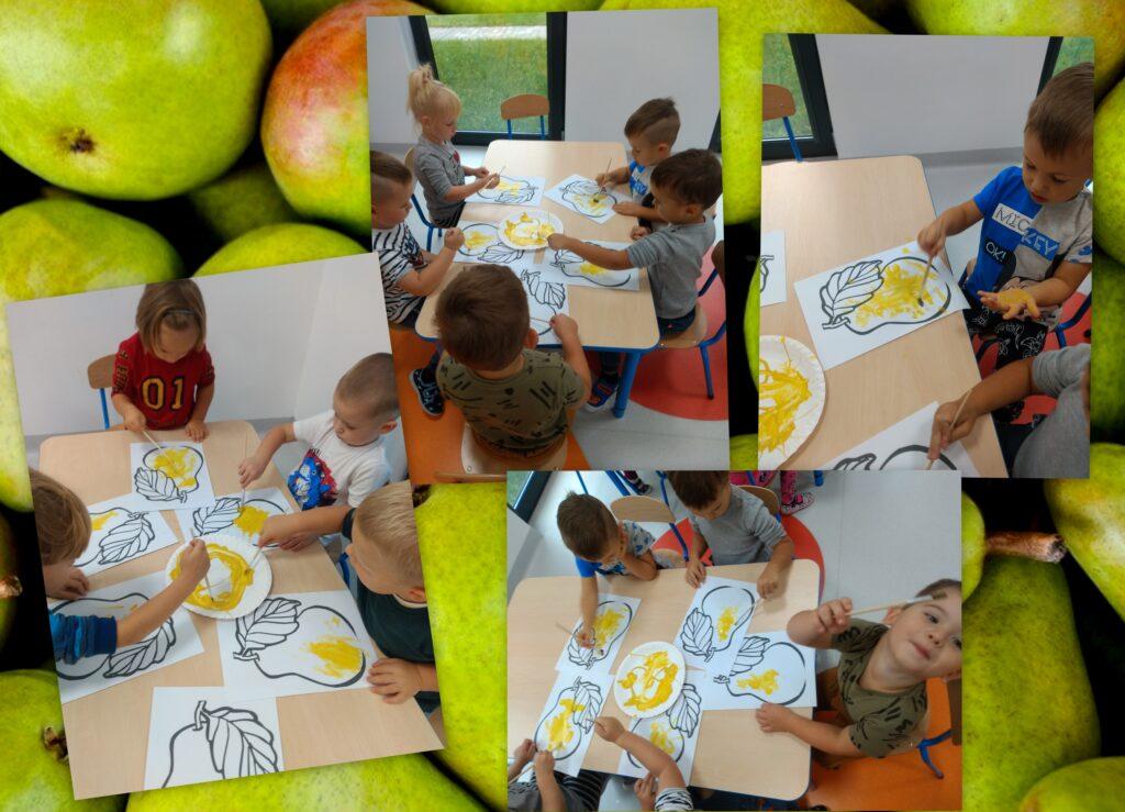 kolaż zdjęć przedstawiający dzieci malujące farbami