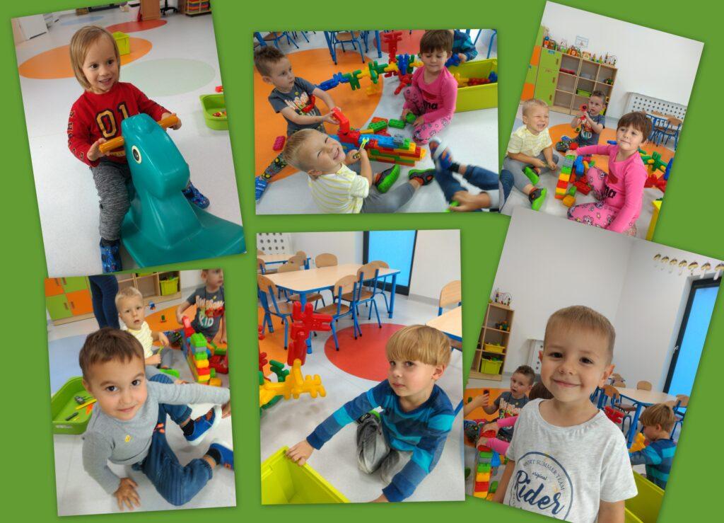 kolaż zdjęc przedstawiający bawiące się dzieci