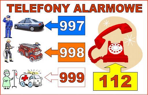 grafika przedstawiająca numery alarmowe