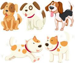 grafika przedstawiająca 5 różnych psów