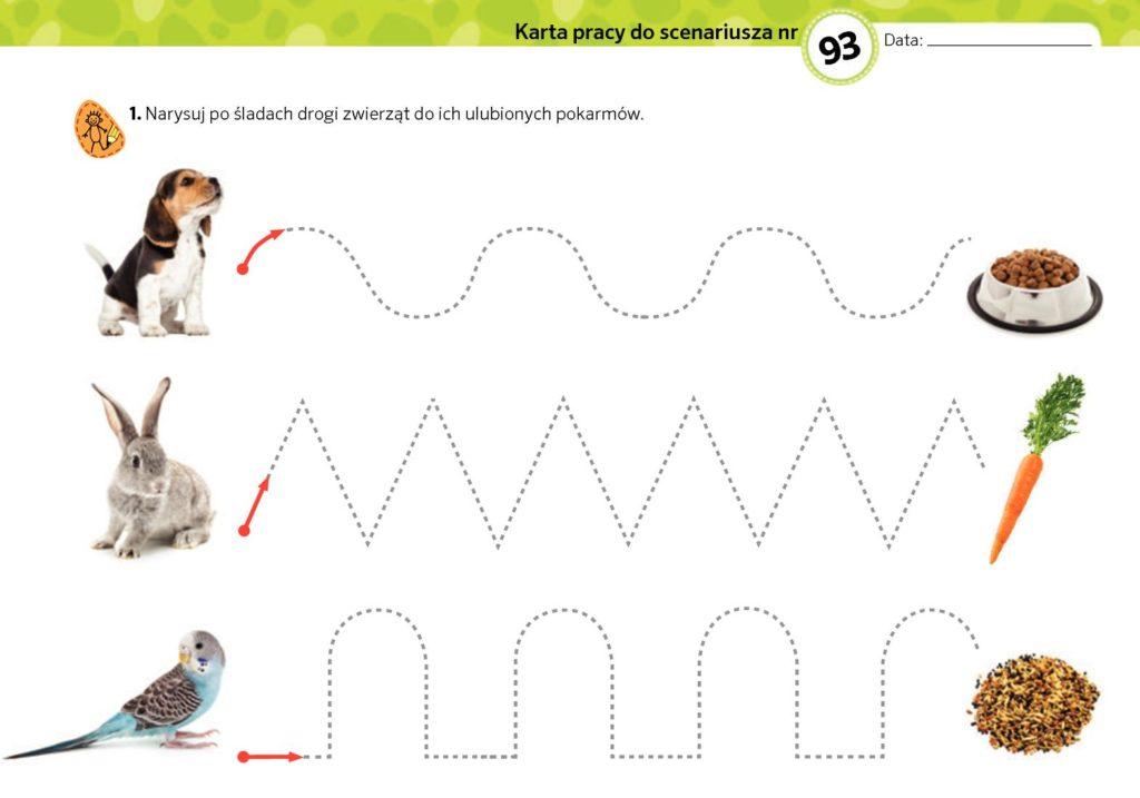 obrazek karta pracy przedstawiająca drogi zwierząt do ich domów