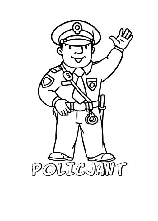 kolorowanka przestawiająca policjanta