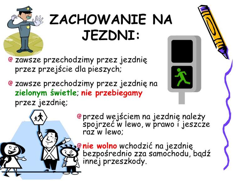 obrazek przedstawiający zasady zachowania na jezdni