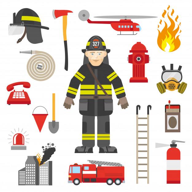 ilustracja strażaka i jego rekwizytów