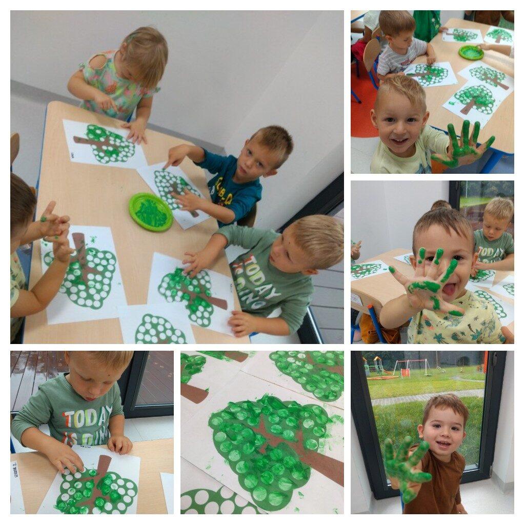 kolaż zdjęć przedstawiających zabawy plastyczne z okazji dnia drzewa