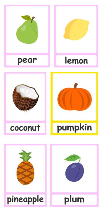 grafika przedstawiająca owoce i ich nazwy w języku angielskim