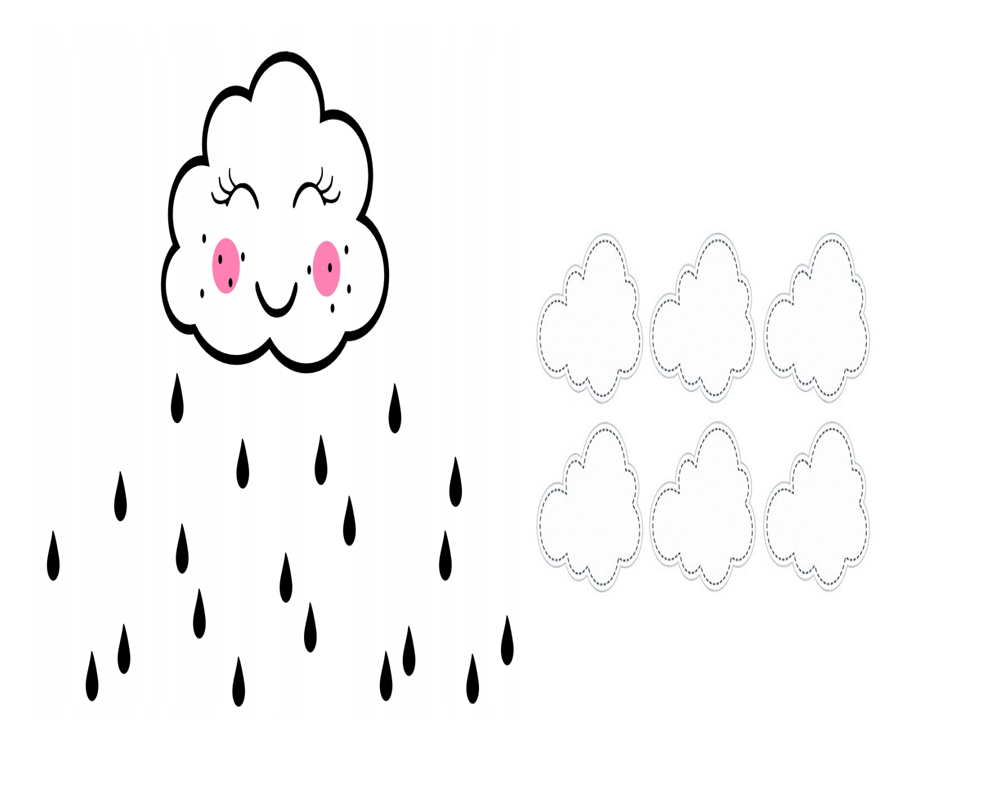 kolorowanka chmury i deszcz