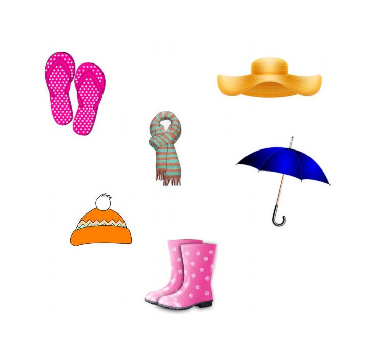 obrazek przedstawiający różne ubrania na rożną pogodę