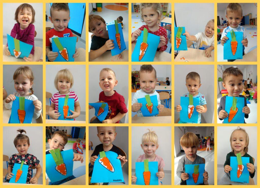 kolaż zdjęć dzieci wykonujących pracę plastyczną