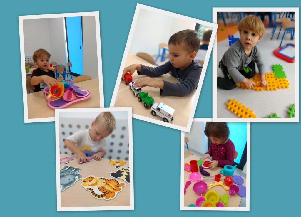 kolaż zdjęć przedstawiający bawiące się dzieci