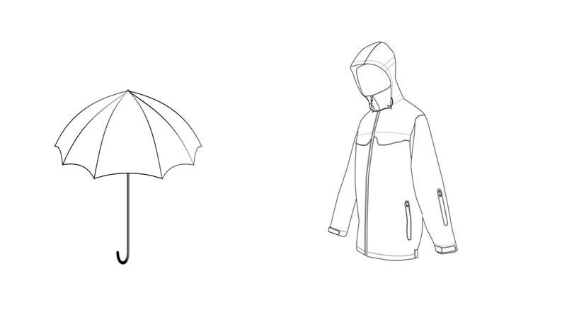 kolorowanka parasol i płaszcz przeciwdeszczowy