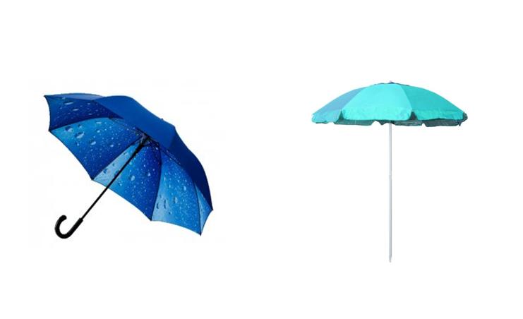 grafika przedstawiająca różne parasole
