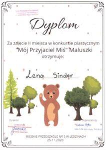 Dyplom za zajęcie 2 miejsca w konkursie plastycznym o misiu -Lena Sider