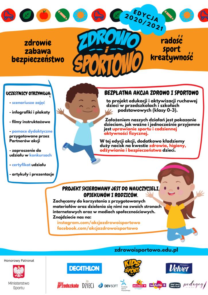 plakat zdrowo i sportowo