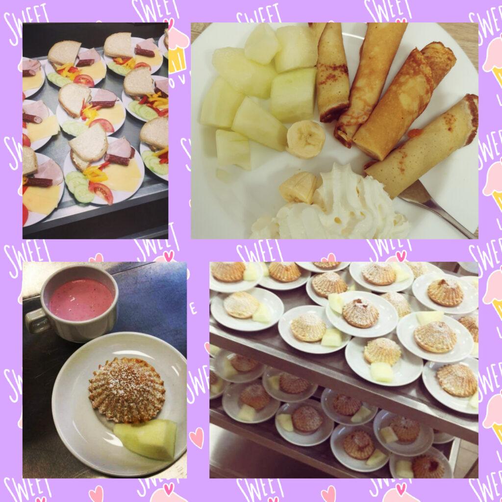 Na zdjęciu talerzyki z potrawami z naszego jadłospisu. Naleśniki, babeczki, kanapki.