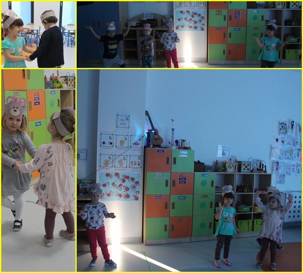 kolaż zdjęć dzieci podczas dnia pluszowego misia