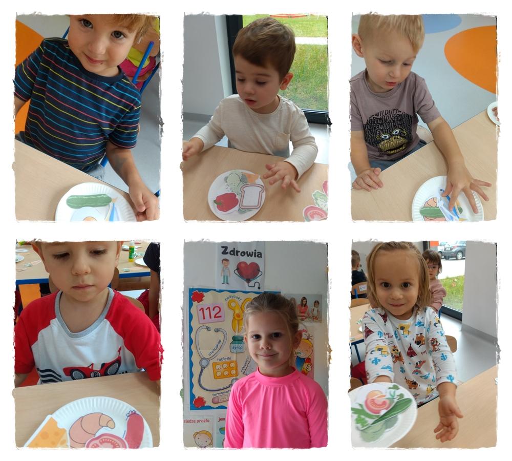 kolaż zdjęć przedstawiający dzieci, które wykonują pracę plastyczną o zdrowiu