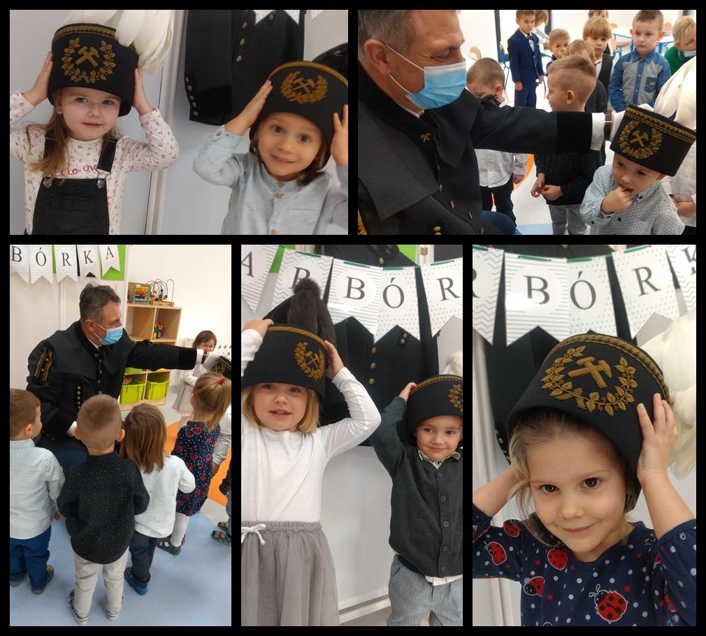 kolaż zdjeć dzieci podczas świętowania barbórki