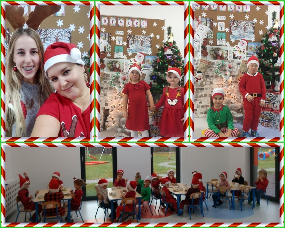 kolaż zdjęć przedstawiający dzieci podczas spotkania z Mikołajem