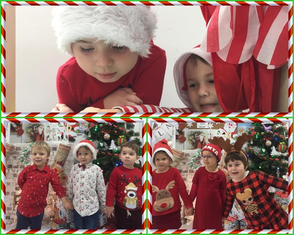 kolaż zdjęć przedstawiająćy dzieci podczas spotkania z Mikołajem