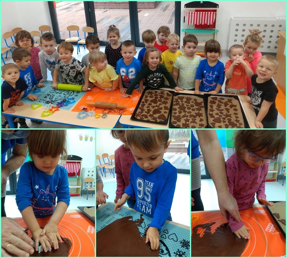 kolaż zdjęć dzieci robiących pierniczki
