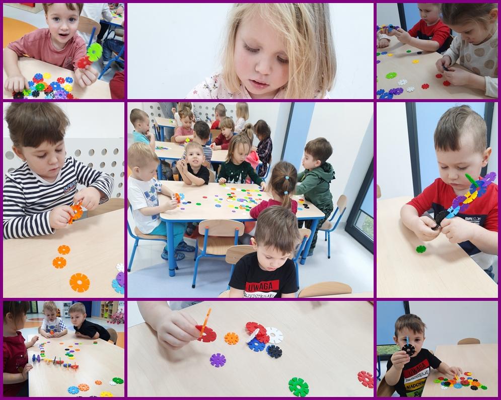 kolaż zdjęć dzieci bawiących się w zabawy konstrukcyjne