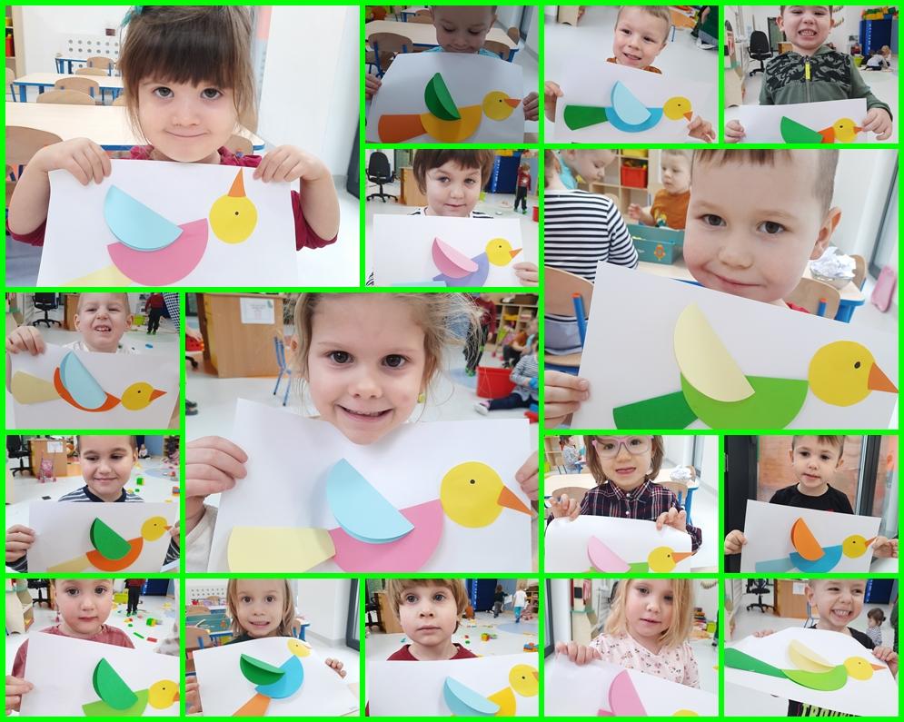 kolaż zdjęć przedstawiający dzieci robiące pracę plastyczną
