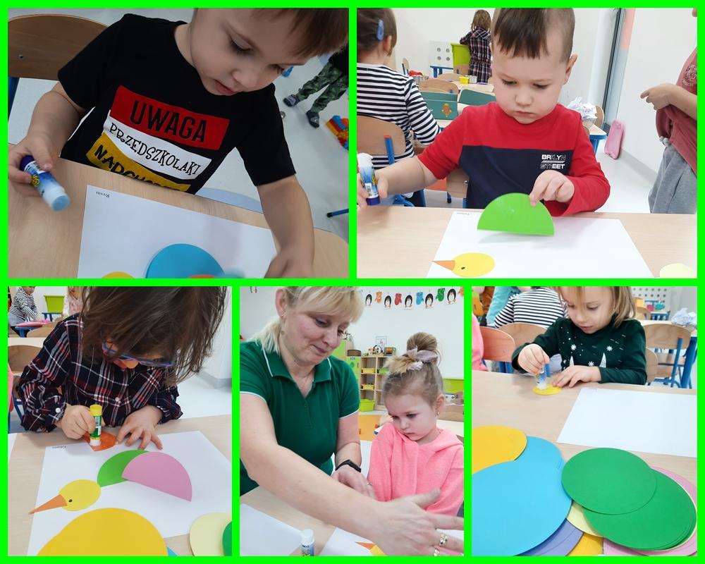 kolaż zdjęć dziecirobiących pracę plastyczną