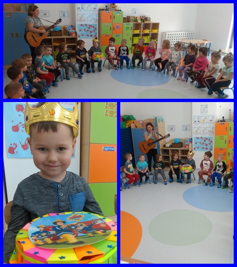 kolaż zdjęć przedstawiający grupę dzieci podczas urodzin