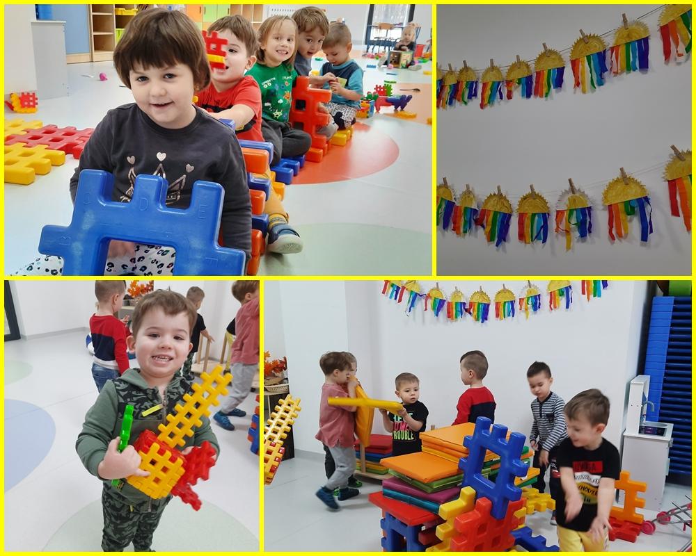 kolaż zdjeć dzieci bawiących się w sali