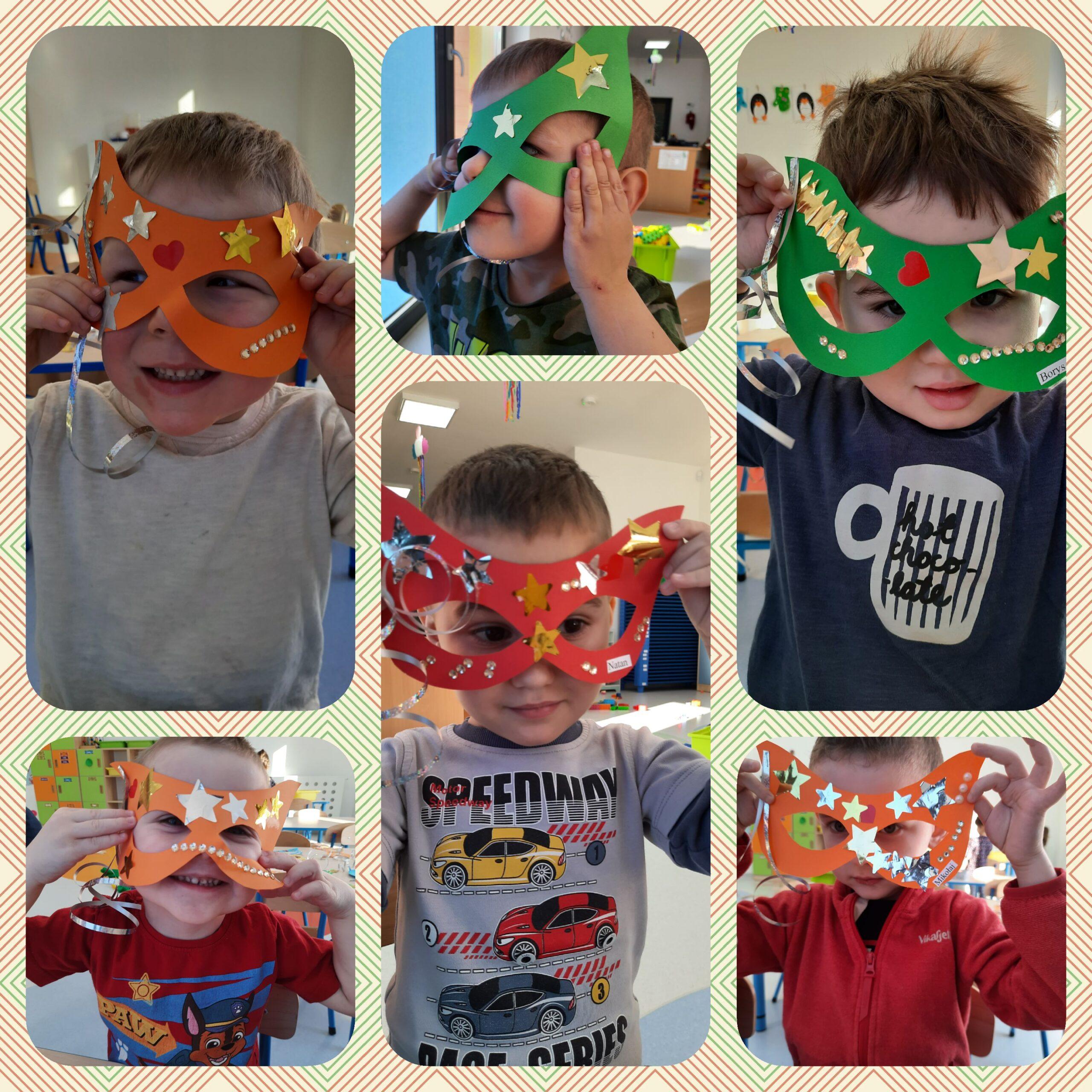 kolaż zdjęć dzieci w maskach karnawałowych