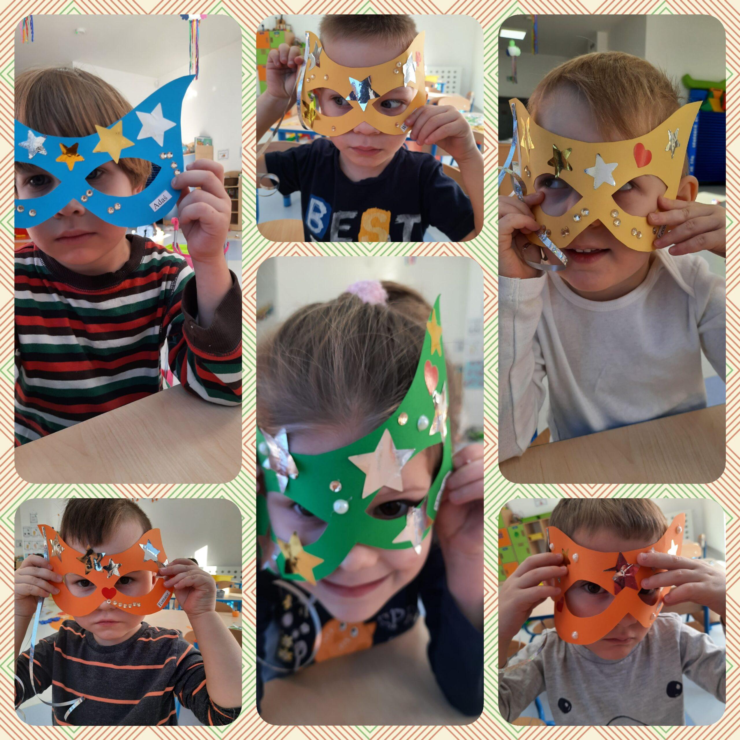 kolaż zdjęć dzieci w maskach