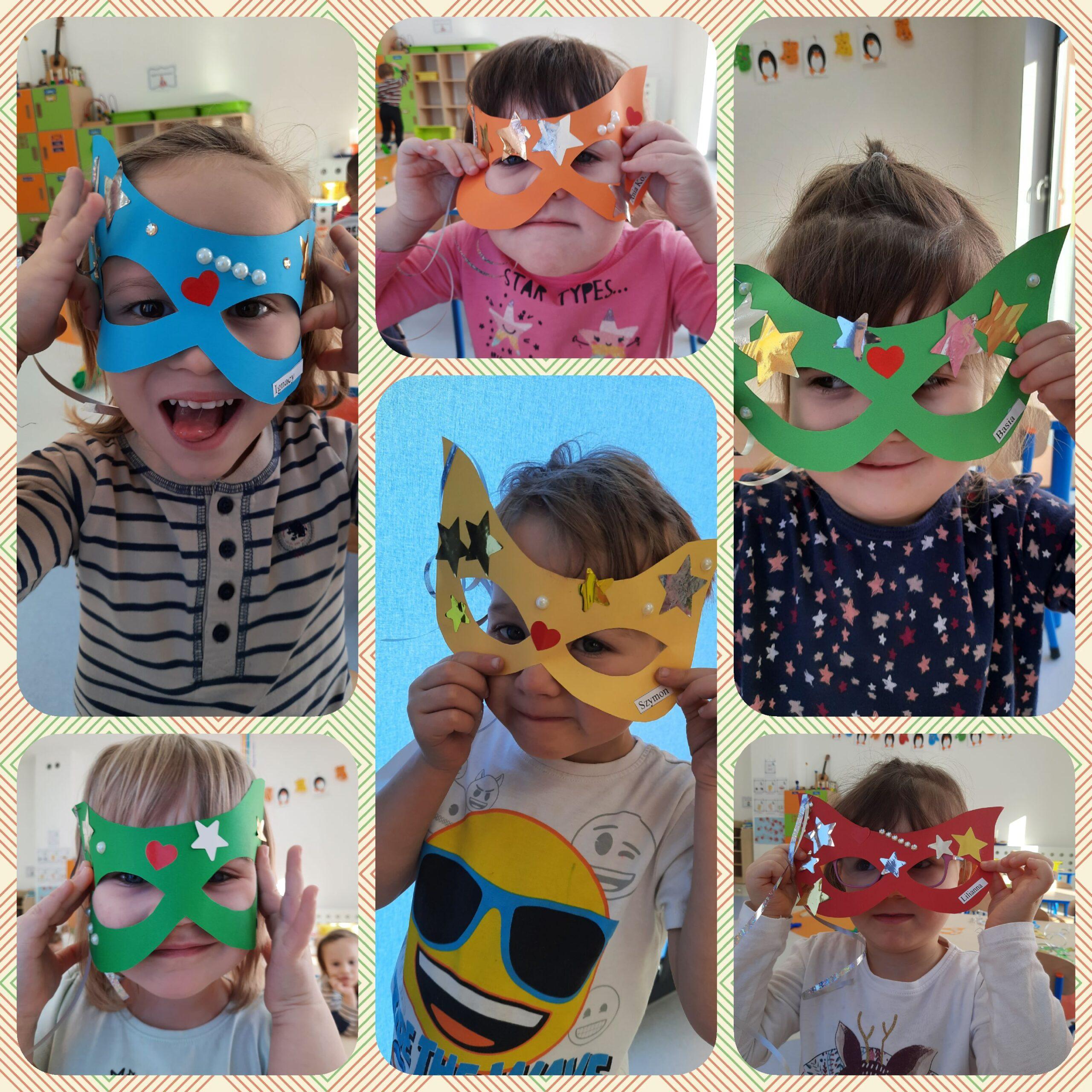 kolaż dzieci w maskach karnawałowych