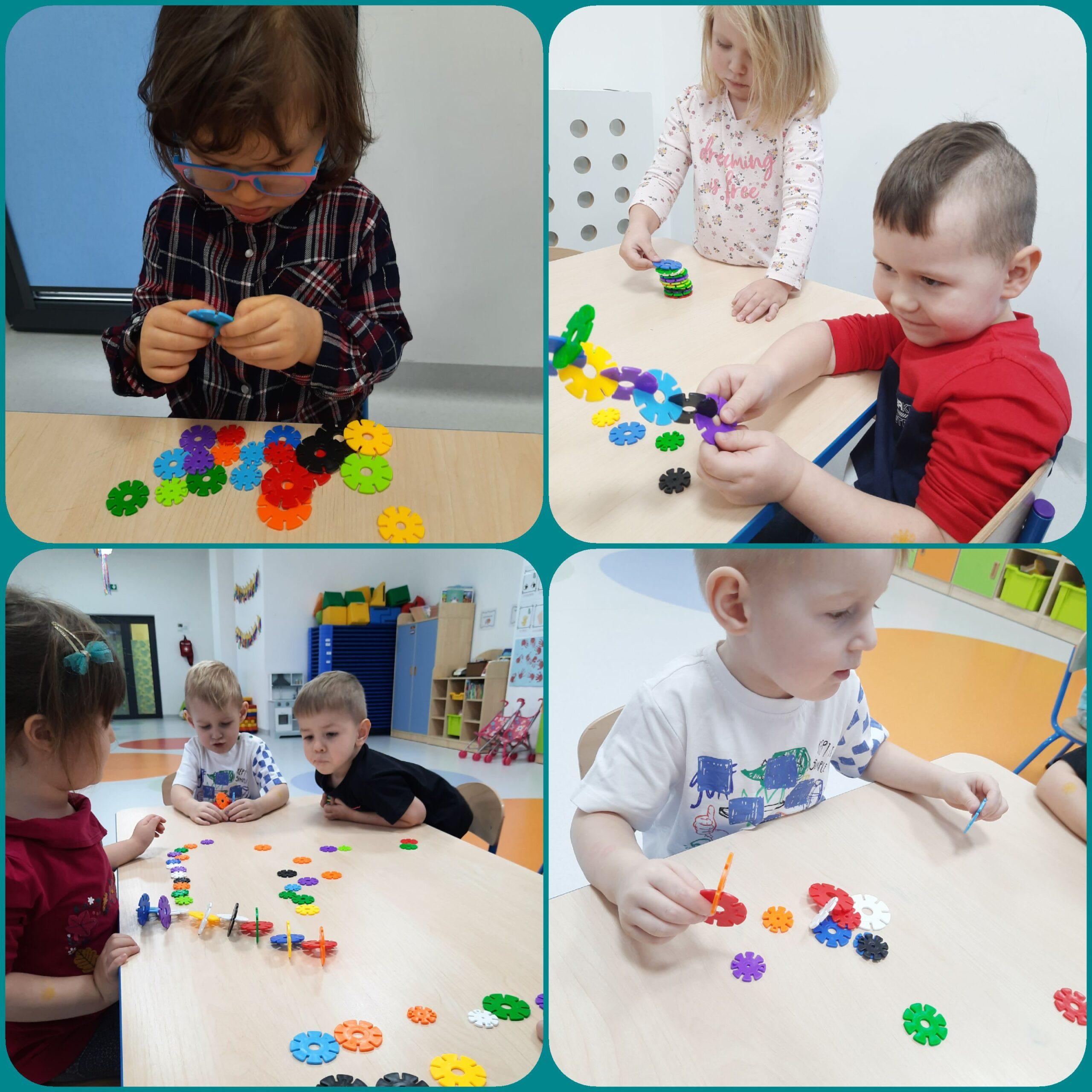 kolaż zdjęć przedstaiąjący dzieci podczas zabaw konstrukcyjnych