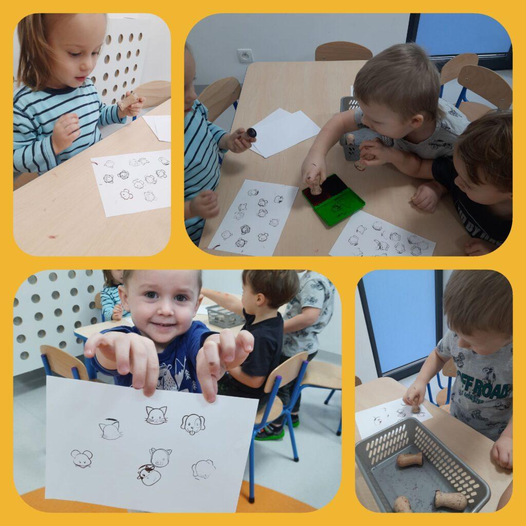 kolaż zdjęc dzieci bawiących się pieczątkami