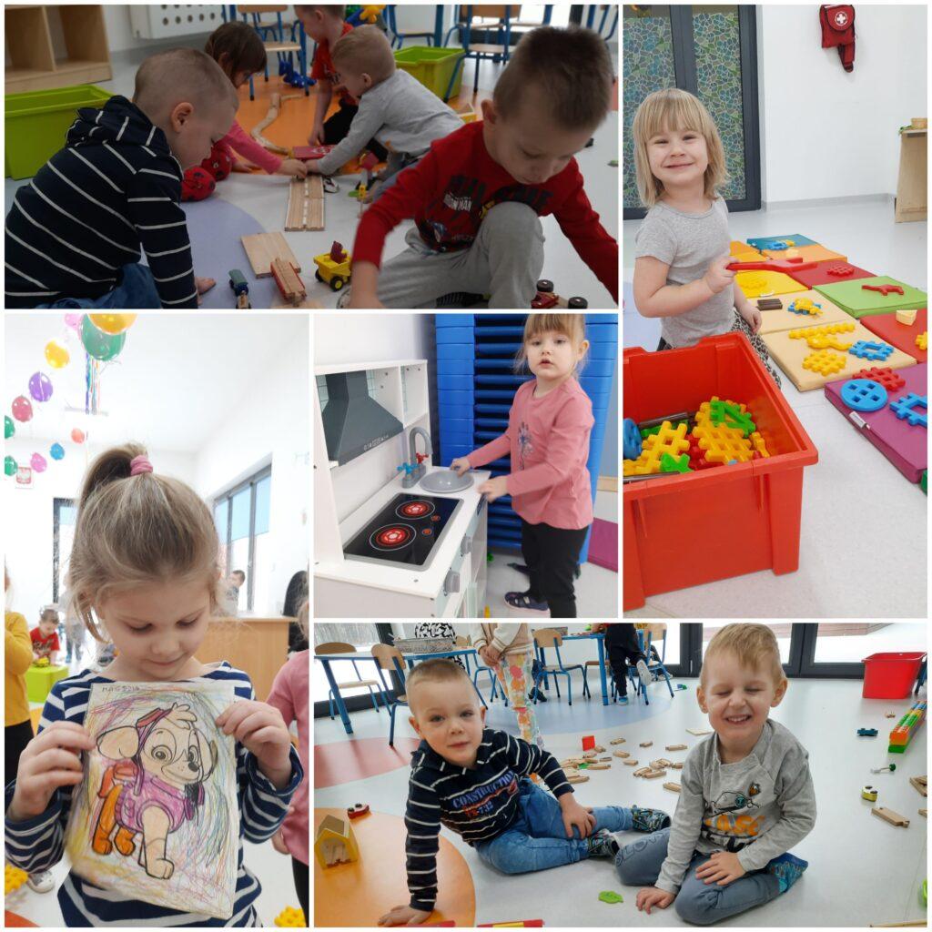 kolaż zdjęc dzieci bawiących się w sali