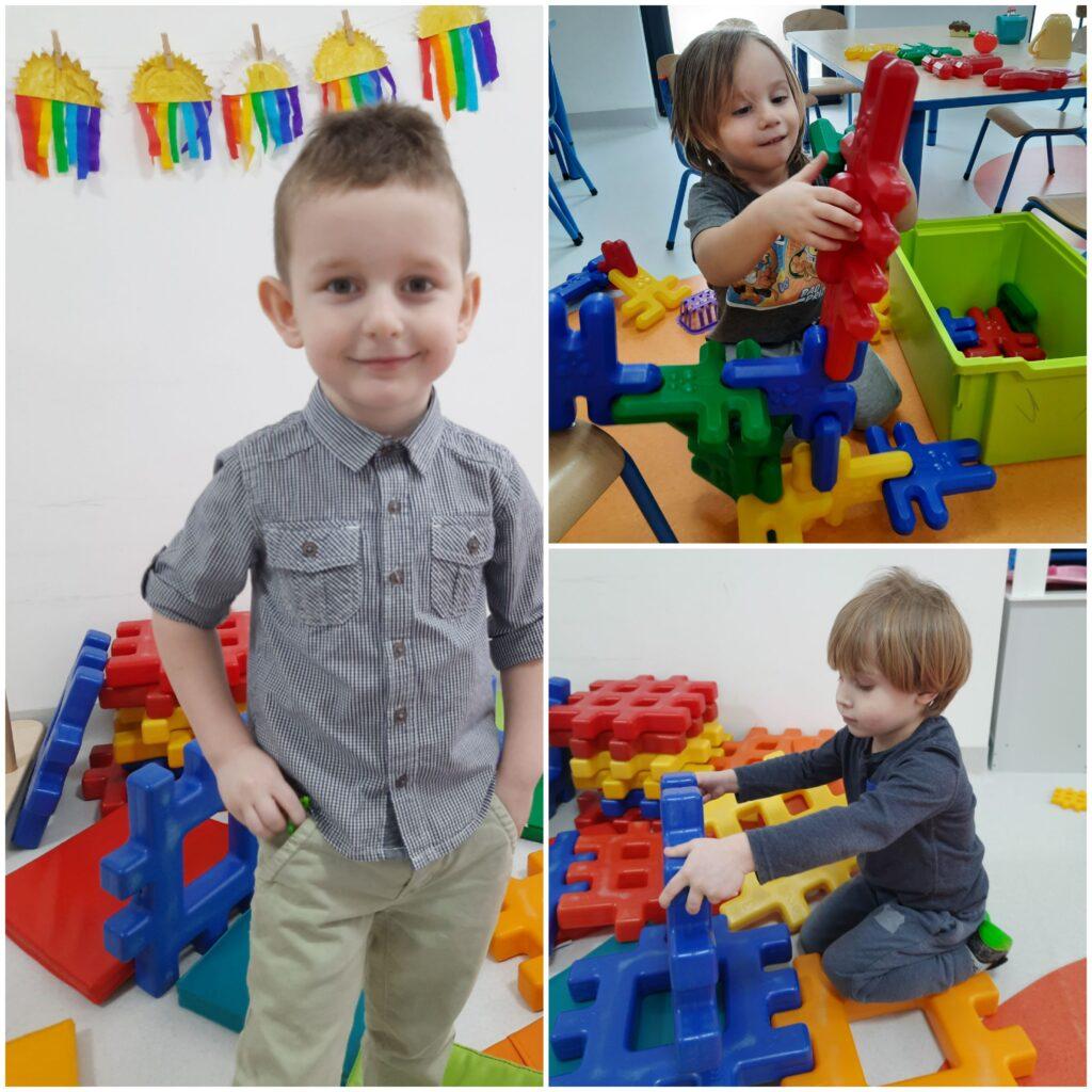 kolaż zdjęć dzieci bawiących się w sali