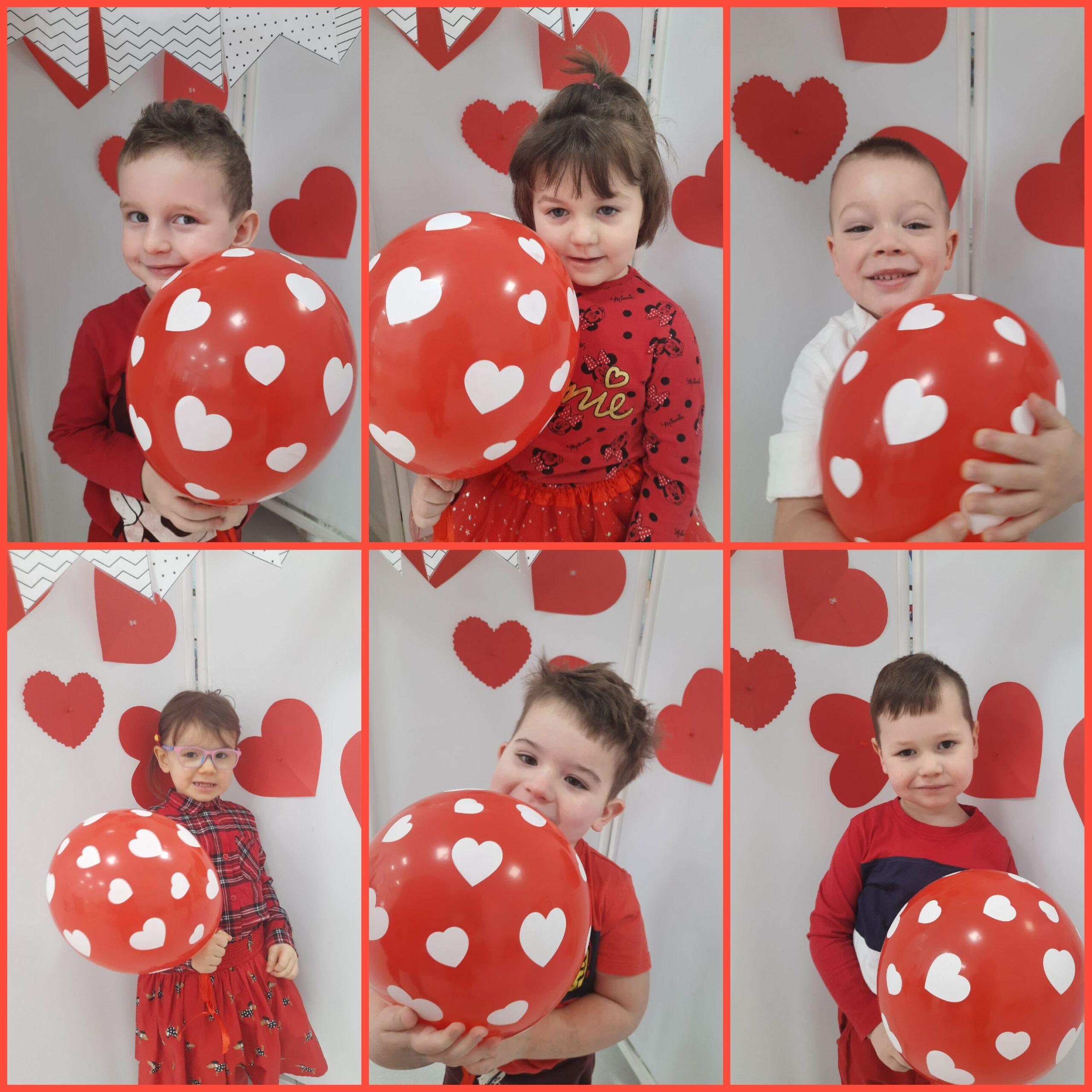 kolaż zdjęć dzieci z balonami