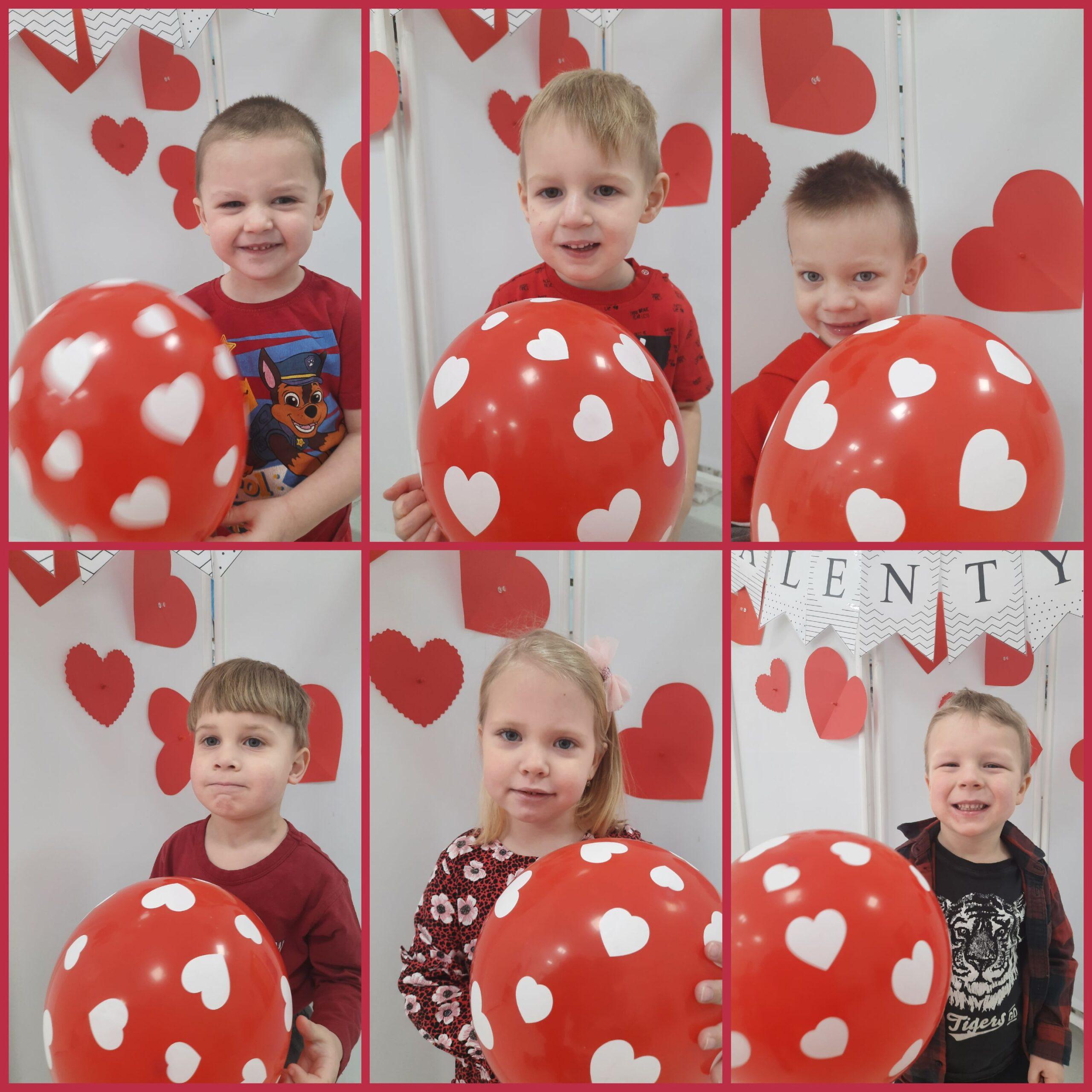 kolaż zdjęć z dzieci z balonami