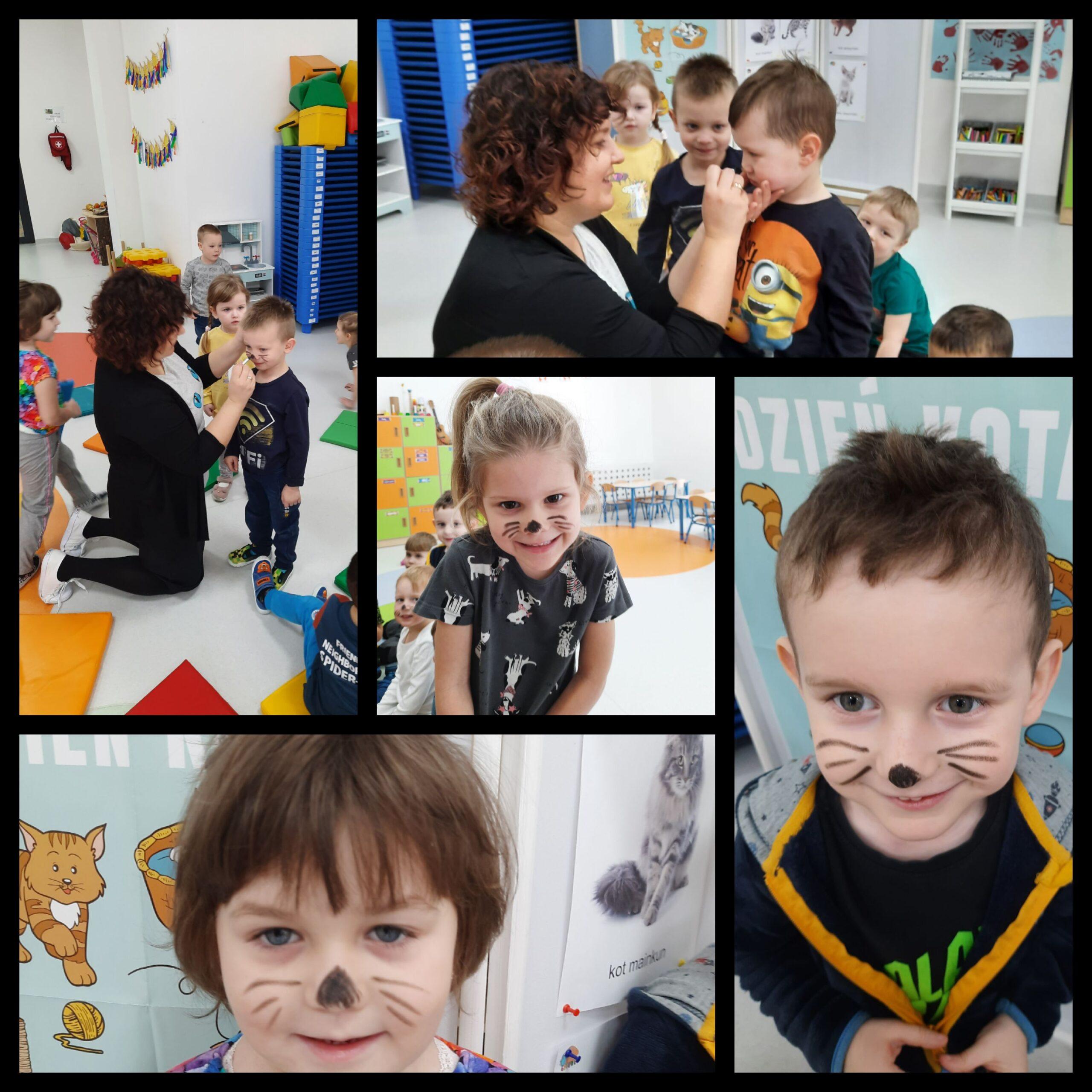 kolaż zdjęć dzieci podczas dnia kota