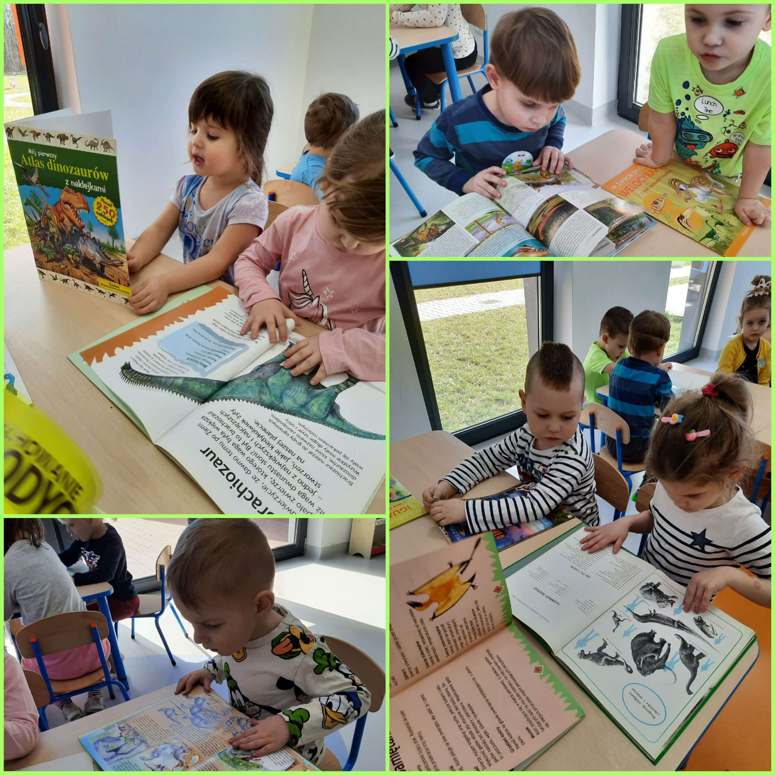 kolaż zdjęć dzieci podczas dnia dinozaura