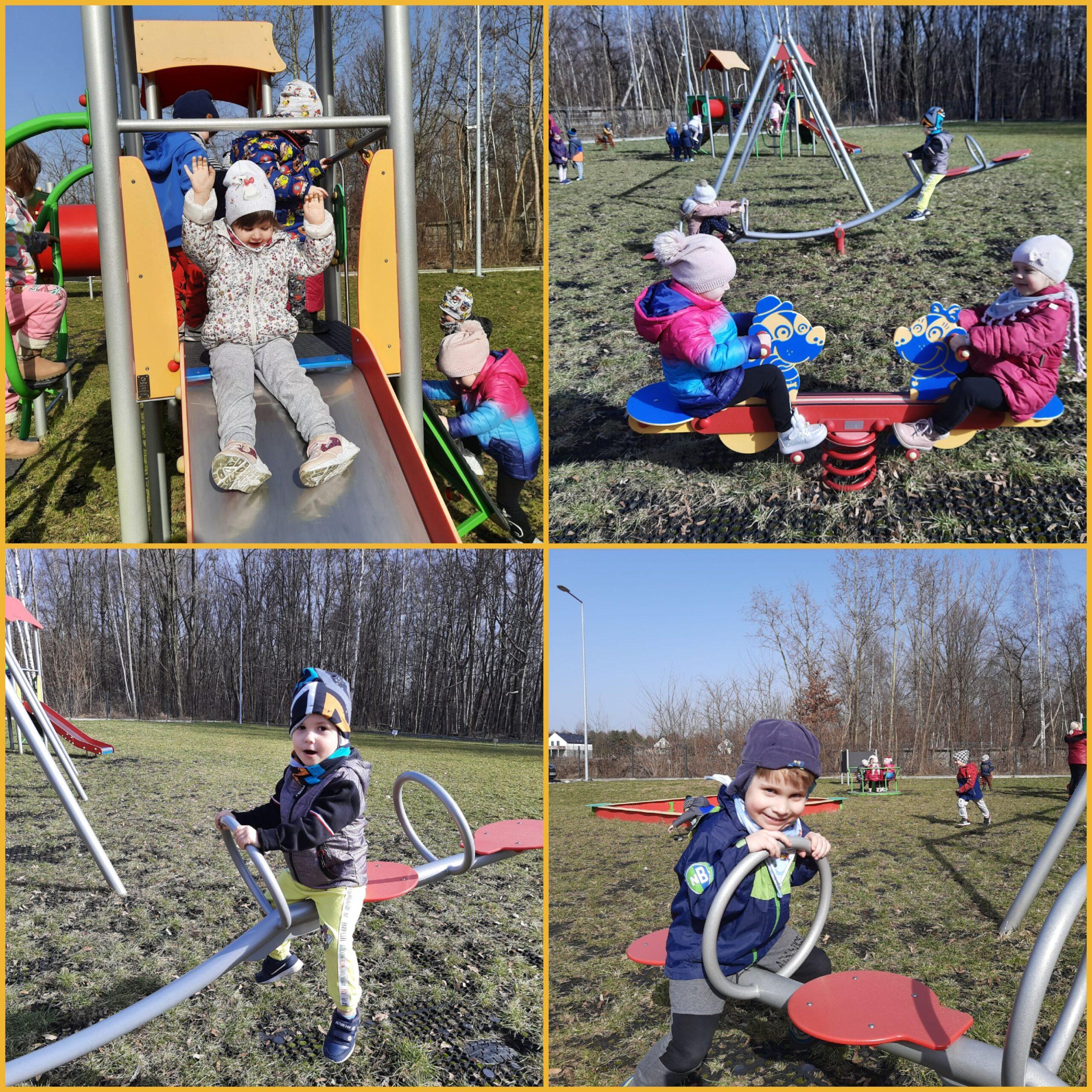 kolaż zdjęć dzieci podczas zabaw na placu zabaw