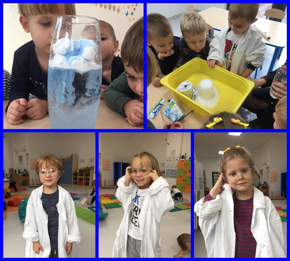 kolaż zdjęć dzieci wykonujących eksperymenty