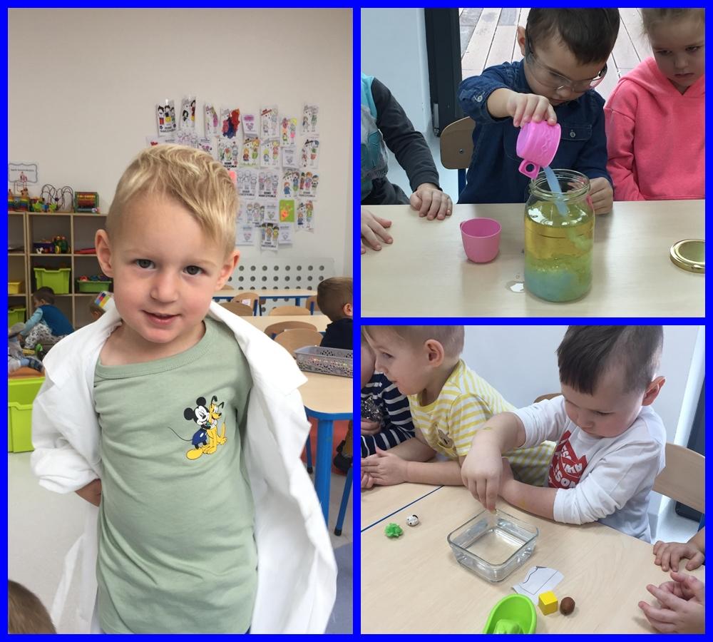 kolaż zdjęć dzieci wykonujących eksperyment