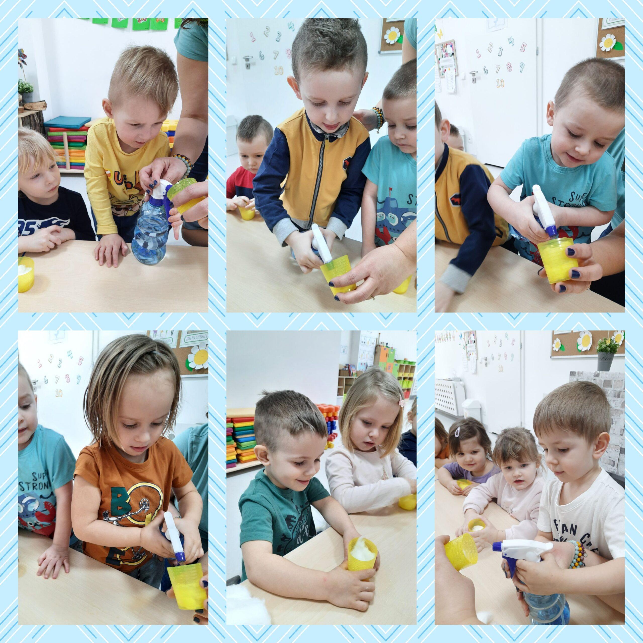 kolaż zdjęć dzieci podczas zajęć przyrodniczych